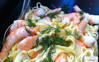 Salade de pâtes fraîches aux crevettes… Vous allez la savourer !