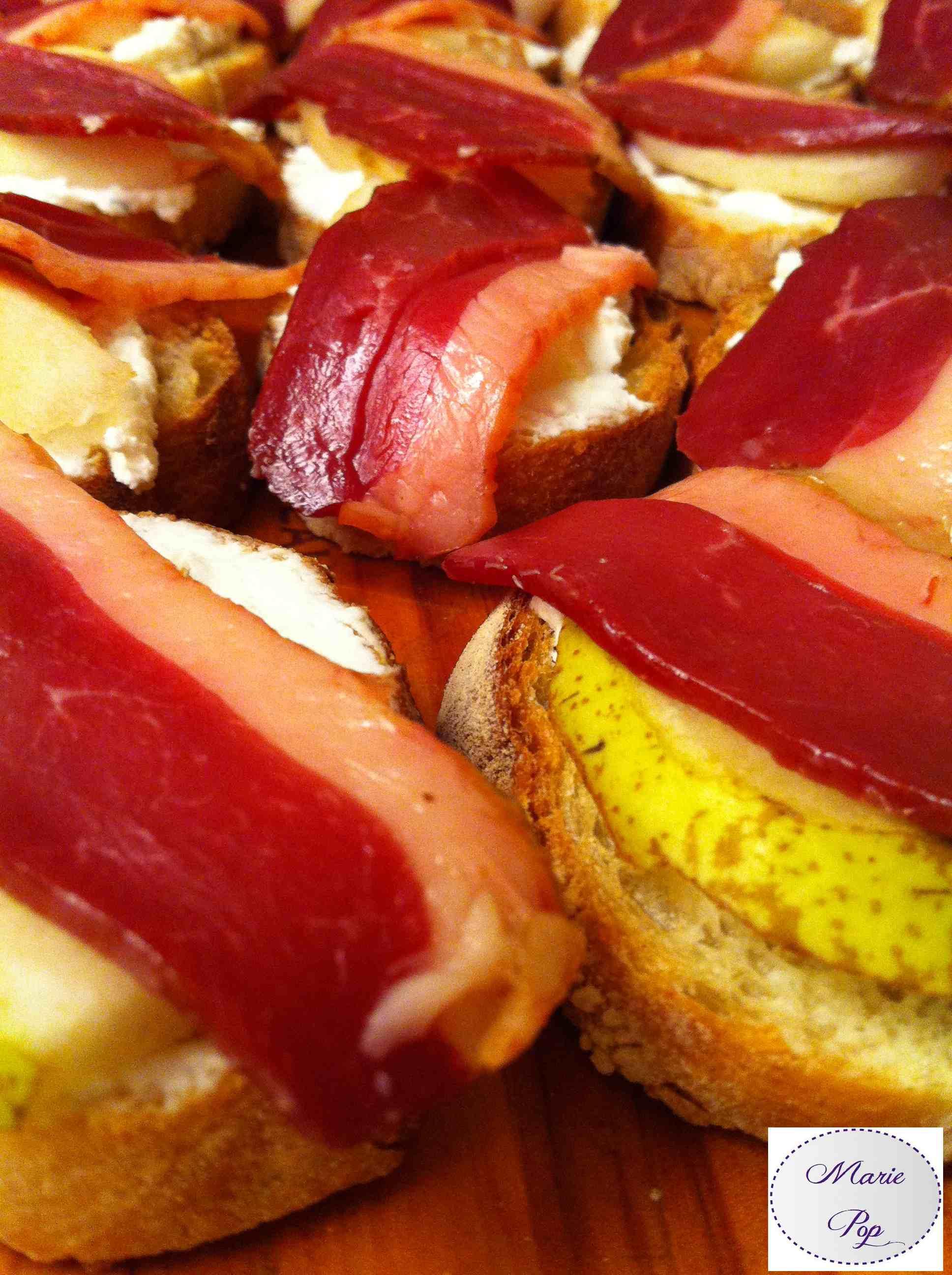 Bruschetta Magret Chèvre et Poires - la recette