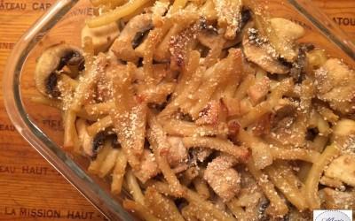 Gratin de pâtes au poulet… Un bon p'tit plat des familles !
