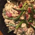 Pâtes crémeuses asperges et bacon - la recette